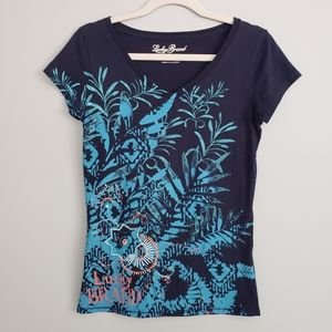 🌟FREE ADD-ON 🌟Lucky Brand S V-neck embroidered tee